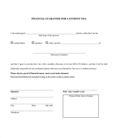 Financial Support Letter For Student Visa Usa guarantee letter