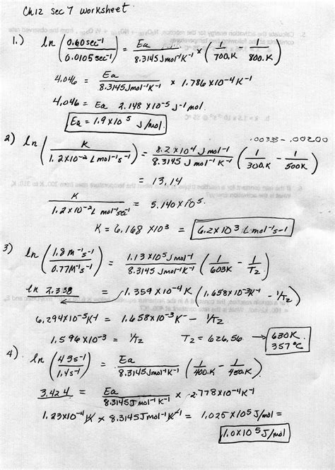Chemical Kinetics Worksheet With Answers