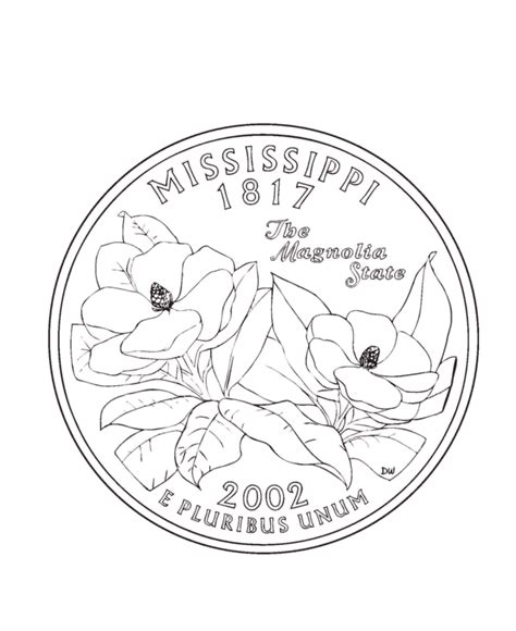 coloring page quarter mississippi state quarter coloring page coloring pages
