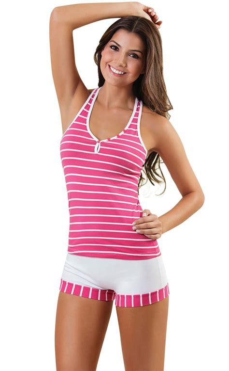 Stripe Set S M L Top arango s pajama set top shorts stripes pink