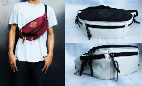 Tas Pinggang Pria Multifungsi Praktis Hitam Putih jual waistbag waist bag waist pack tas pinggang hitam kombinasi putih allo