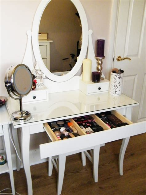 Glass Makeup Vanity Table Glass Top Vanity Table With Wooden Base Painted With White Color And Drawer For Makeup Storage