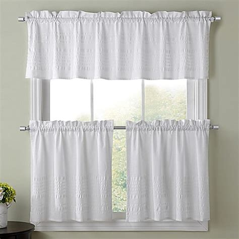 Bed Bath And Beyond Kitchen Curtains Kitchen Window Curtain Tier Pair And Valance Collection In White Bed Bath Beyond