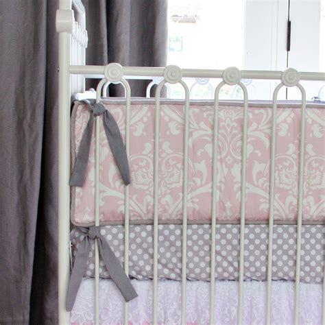lace crib bedding pink white lace damask ruffle crib bedding set by caden lane