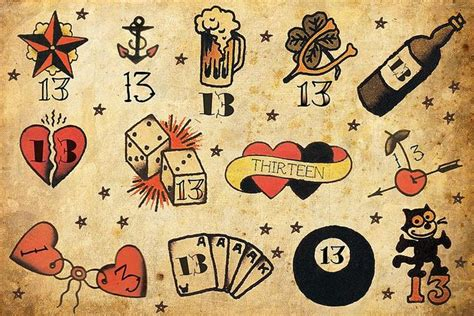 lucky 13 tattoo designs i got married on the 13th aaaand i port dover so