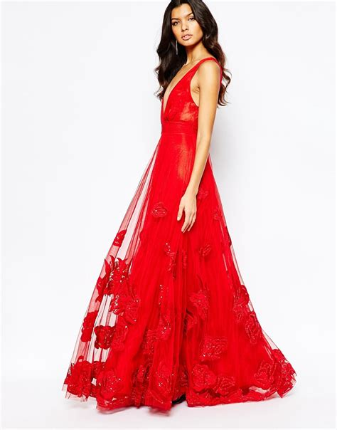 Luxe To Less Tulle Prom Dress by A Is Born Embellished Plunging Tulle Gown In Lyst