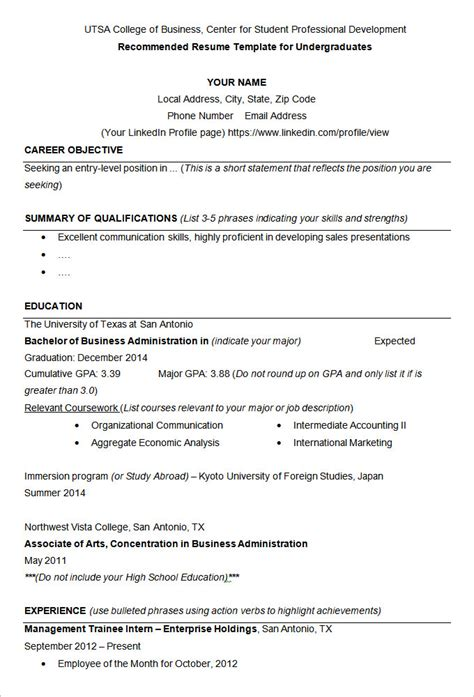 best resume format for bba student 19 resume exles pdf doc free premium templates