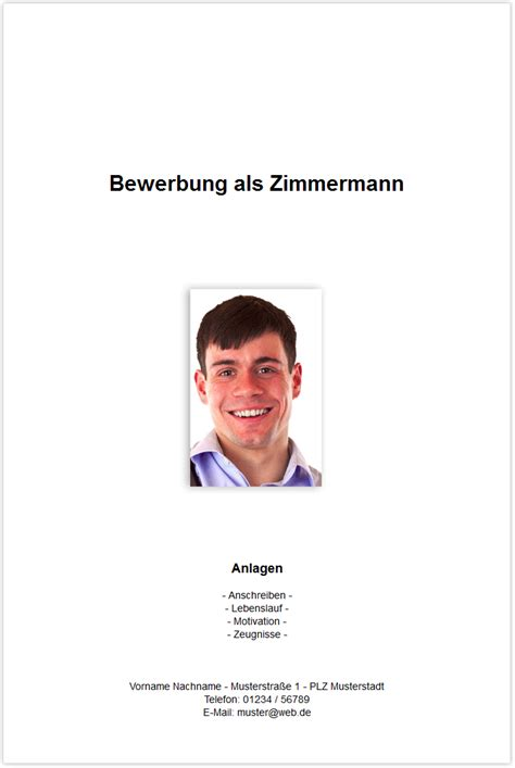 Bewerbung Deckblatt Zimmerer Bewerbungsdeckblatt Zimmermann Zimmerer