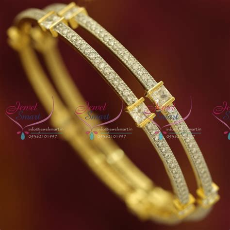 B6088S 2.4 Size 2 Pcs CZ White Diamond Design Gold Plated Bangles Buy Online