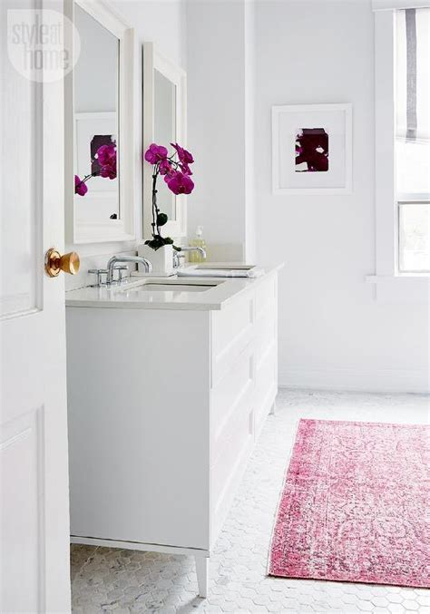 Contemporary White Bathroom With Pink Overdyed Rug On Pink Bathroom Carpet