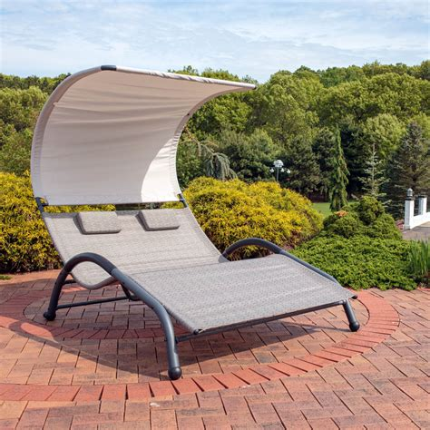 outdoor double chaise lounge with canopy sunnydaze outdoor double chaise lounger sunbed w canopy