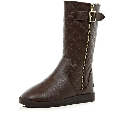 Quilted Boots by River Island Brown Faux Fur Lined Quilted Boots In Brown