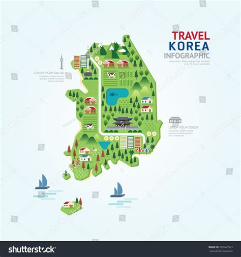 map layout graphic design infographic travel and landmark korea map shape template