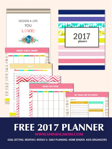 printable planner sheets 2017 free planner 2017 design a life you love