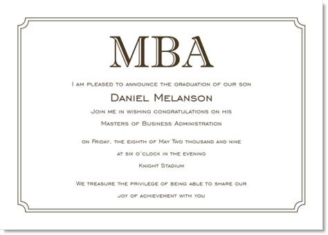 Mba Graduation Announcements Cards by Simple Border Brown And White Graduation Invitations By Ib