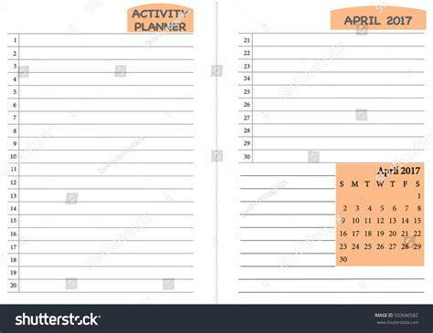 daily planner template vector april 2017 calendar template monthly planner stock vector