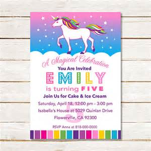 unicorn rainbow girls birthday party invitation custom diy