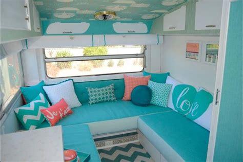 retro vintage caravan cer trailer aqua mint sea foam teal turquoise coral chevron
