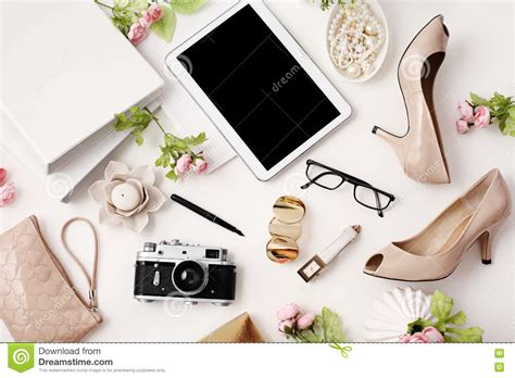 fashion desk accessories top view office table desk stock image image of business