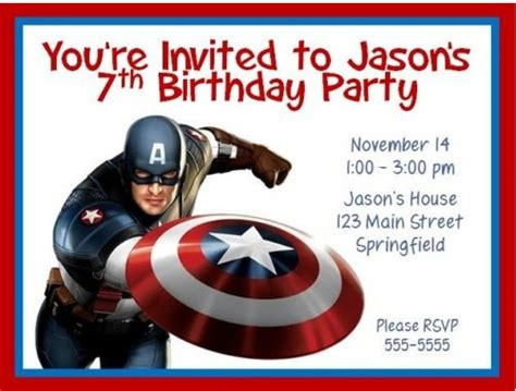 Party Supplies The Kid S Fun Review Free Captain America Invitation Templates