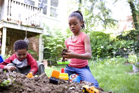 Kids Playing In Backyard Free Picture Two Young African American Children Play