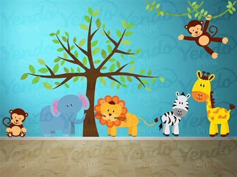 wall decal jungle decal jungle wall decal wall decals set giraffe elephant monkey