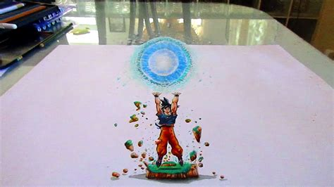 imagenes de dragonboll z en 3d 3d drawing dragon ball z goku spirit bomb dibujo 3d