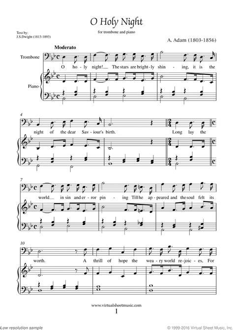 printable sheet music for o holy night free adam o holy night sheet music for trombone and piano