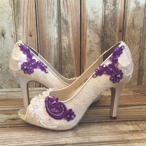 Hochzeitsschuhe Farbig by Colored Bridal Shoes Purple Ivory White All Lace Beaded Peep