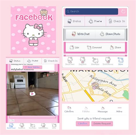 themes line hello kitty kitty fang hello kitty tiny chum facebook theme