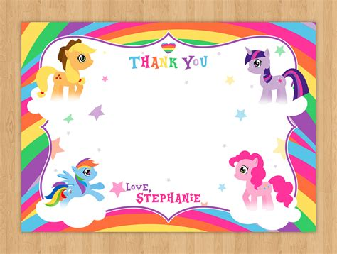 my little pony printable thank you cards my little pony thank you card