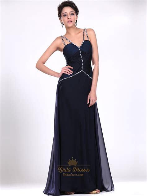 navy blue beaded prom dress navy blue v neck spaghetti chiffon prom dress with