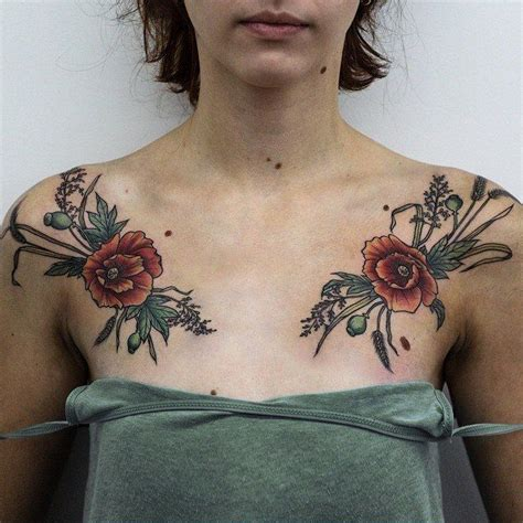 floral chest tattoo olga nekrasova poppies poppy anemone chest floral