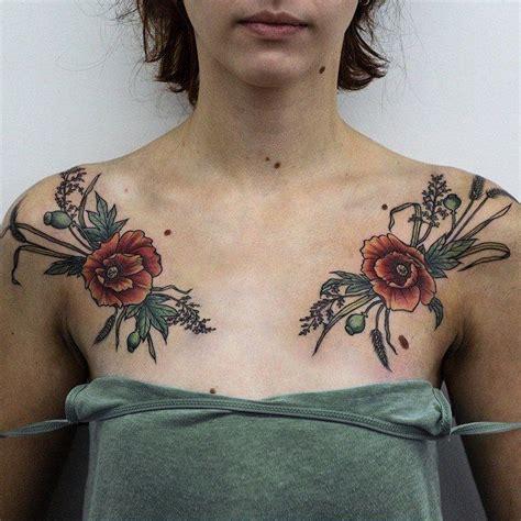 floral chest tattoo olga nekrasova poppies poppy anemone chest floral