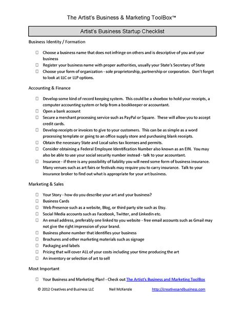 business startup checklist template business basics marketing and business by neil