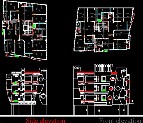 residential multi storey building dwg block  autocad
