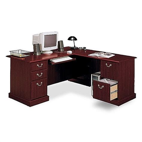 L Shaped Executive Desks Bush Saratoga L Shape Executive Desk W Bookcase Cherry Office Set