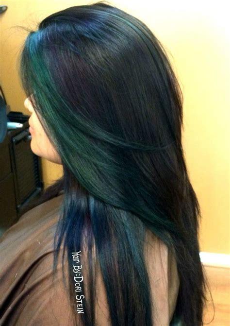 mermaid colored hair slick colored hair mermaid hair green blue violet