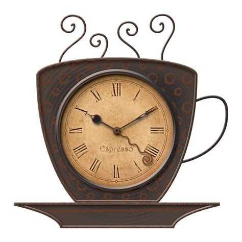 Home Decor For Less Online Firstime Manufactory 25524 Bronze Coffee Cup Wall Clock