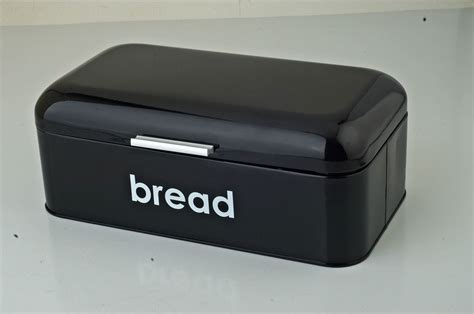new retro vintage bread bin in black with curved