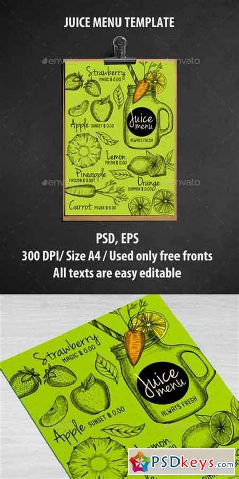 juice menu card templates juice bar menu template 16963365 187 free photoshop