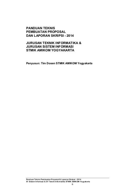 format skripsi amikom panduan teknis pembuatan proposal laporan skripsi