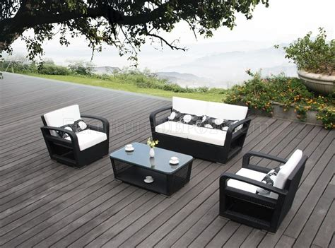 black white modern patio 4pc sofa chairs outdoor set w table