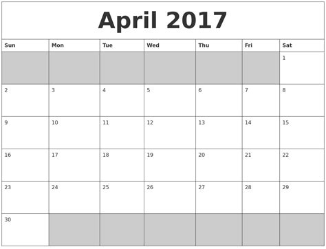 printable calendar april 2017 calendar april 2017 free printable calendar and images