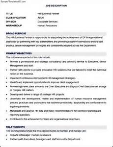 Cv For Residency by Sample Hr Business Partner Job Description Template
