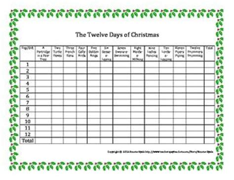 twelve days of total gifts free twelve 12 days of gift total math grid