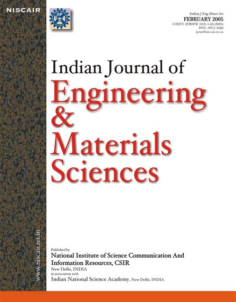 Research Letters In Materials Science Impact Factor Indian Journal Of Engineering And Materials Sciences