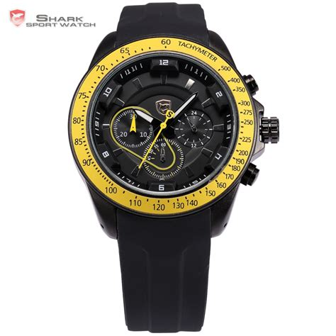 snapper shark sport black yellow chronograph