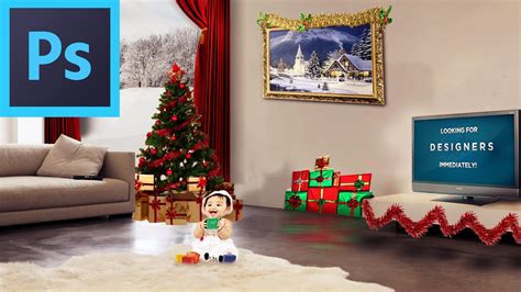 photoshop how to decorate your room for christmas youtube