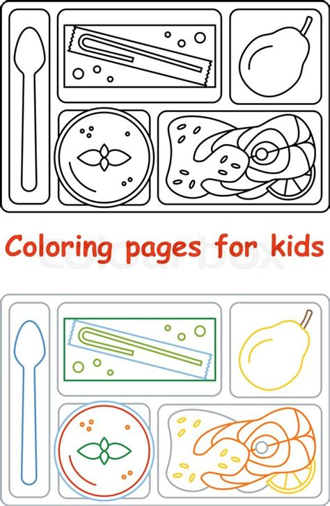 food tray coloring page coloring pages for kids lunch tray line style vector